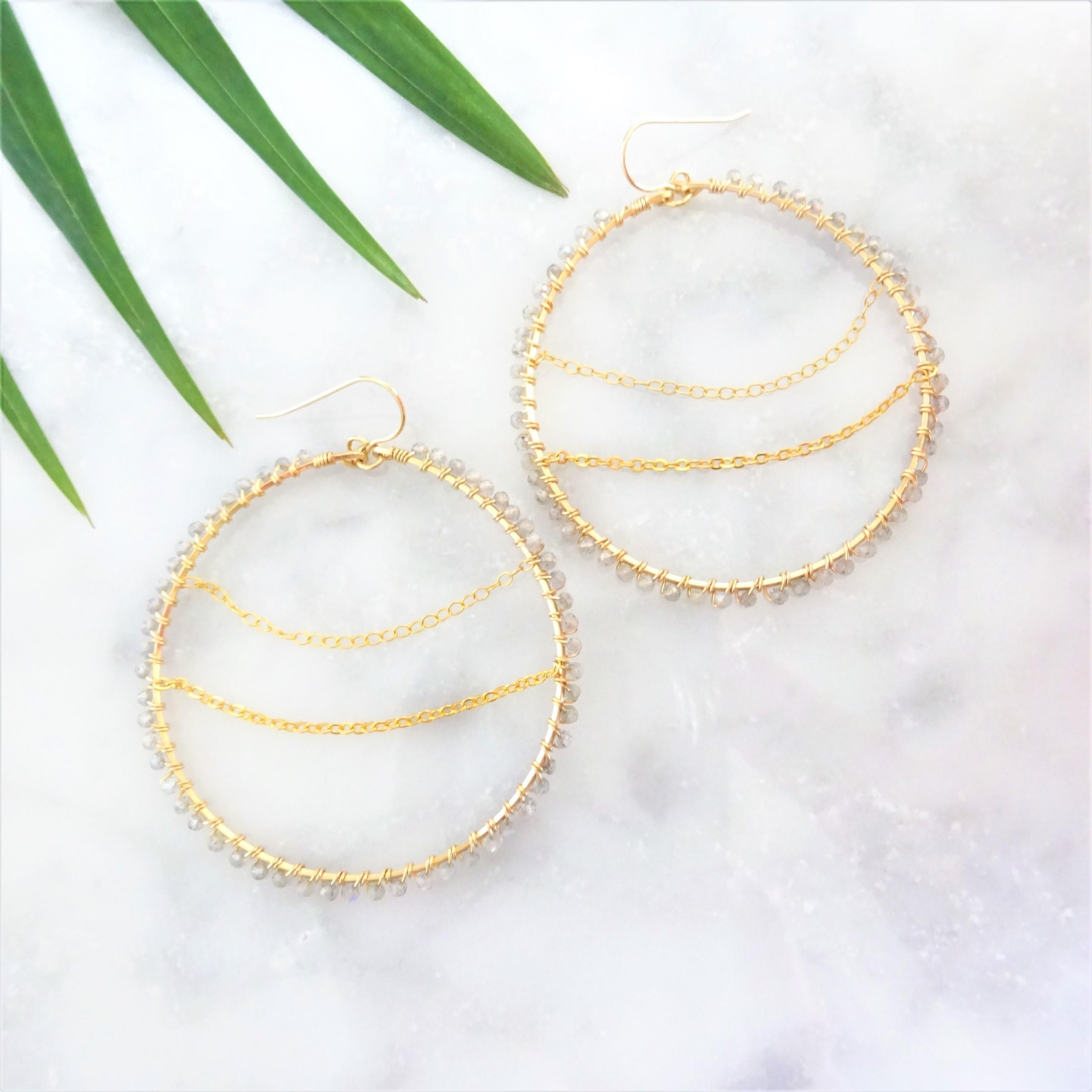 送料無料 14kgf Labradorite♡wrapped chain pierced earring/earring