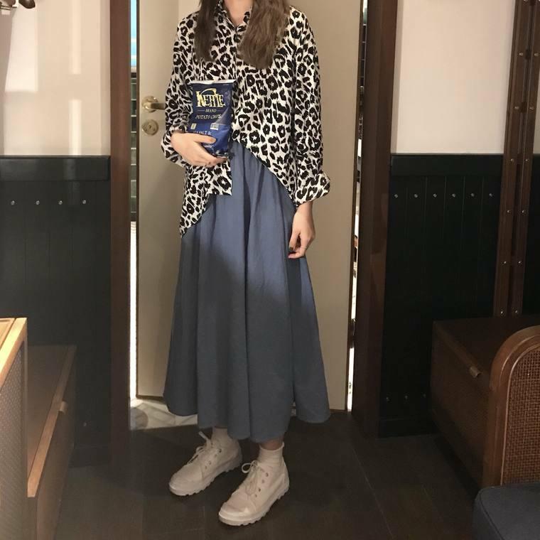 【送料無料】おしゃれガールのセットアップコーデ♡ 2点セット レオパード ヒョウ柄 シャツ × ロングスカート