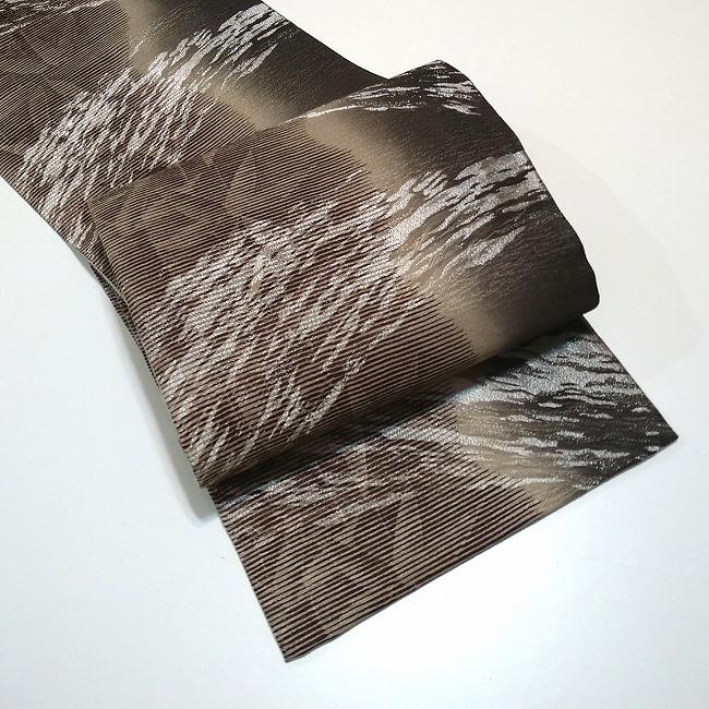 ★ 美品 袋帯 笹 縞  全通 茶色 ★ c011