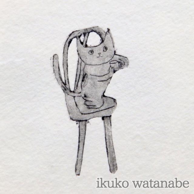 版画カード - 猫お茶・左 - わたなべいくこ - no9-wat-06
