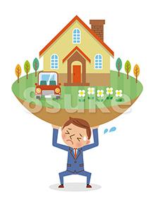 イラスト素材:住宅ローンの重圧に耐えるビジネスマンのイメージ(ベクター・JPG)