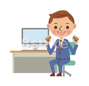 イラスト素材:パソコンを使うビジネスマン/ガッツポーズ(ベクター・JPG)