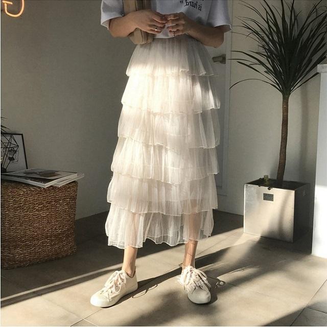 おすすめ☆ スカート フリル ティアードスカート パステルカラー フェミニン ポリエステル かわいい