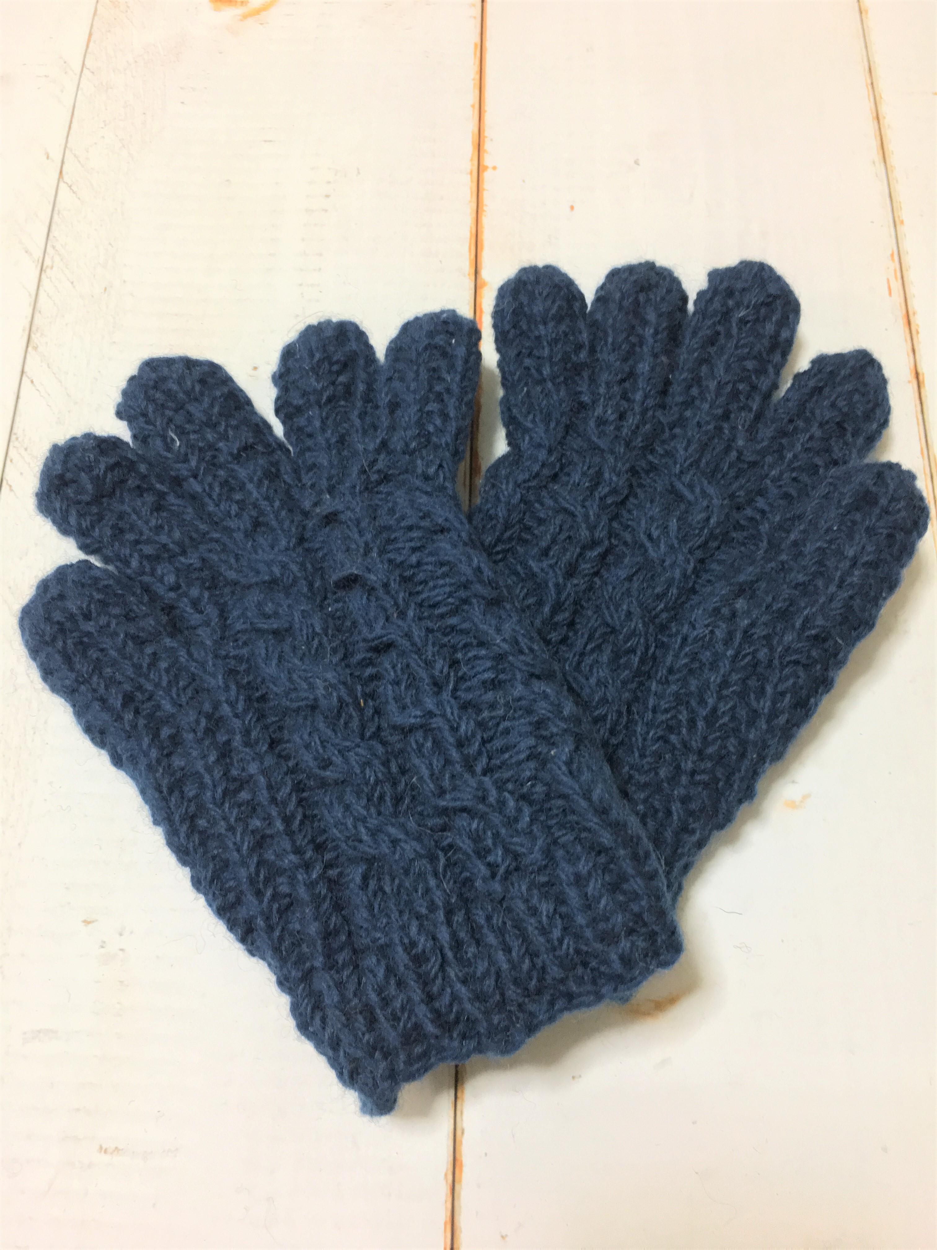 ネパール裏フリース手編み手袋・ネイビー