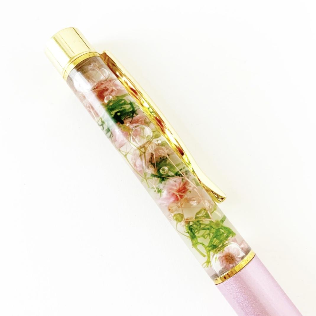 クリアケースラッピング付きハーバリウムペン(ナチュラルピンク×グリーン)