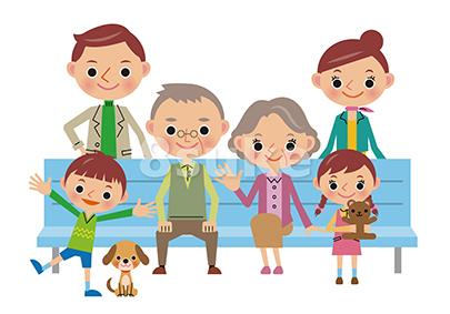 イラスト素材:ベンチに座る3世代家族(バック白・ベクター・JPG)