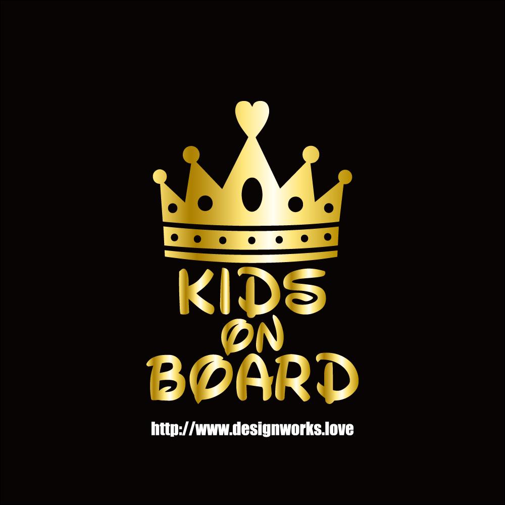 全10色 KIDS ON BOARD ティアラ 王冠 ステッカー