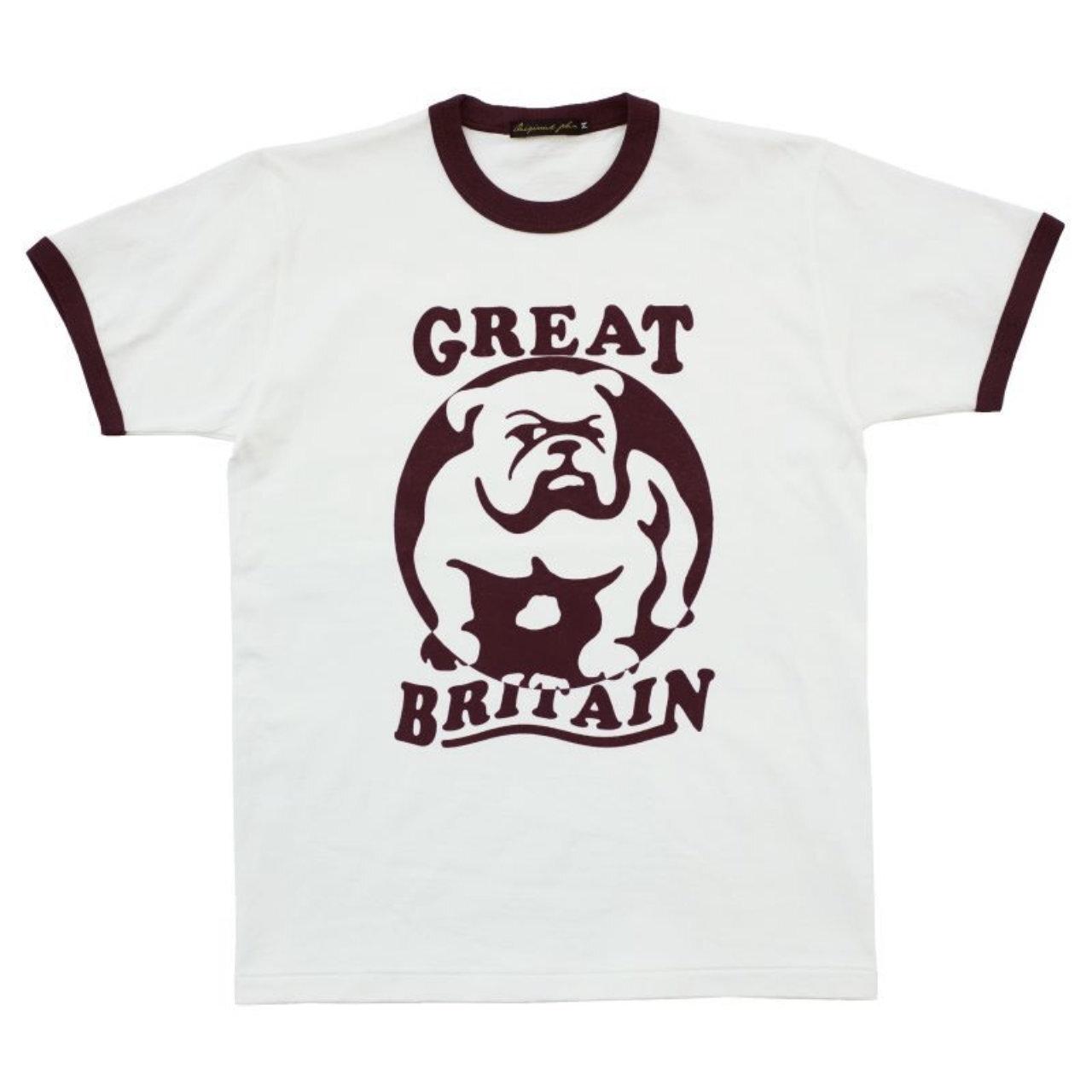 【Original John】 ブルドッグ プリント リンガー Tシャツ 〈Natural×Burgundy〉