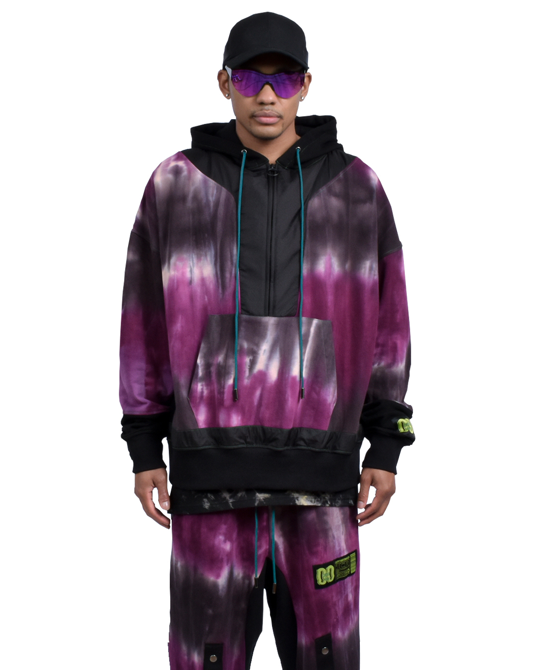 TCR ESSENTIAL TECH TIE DYE HOODIE  - PURPLE/BLACK