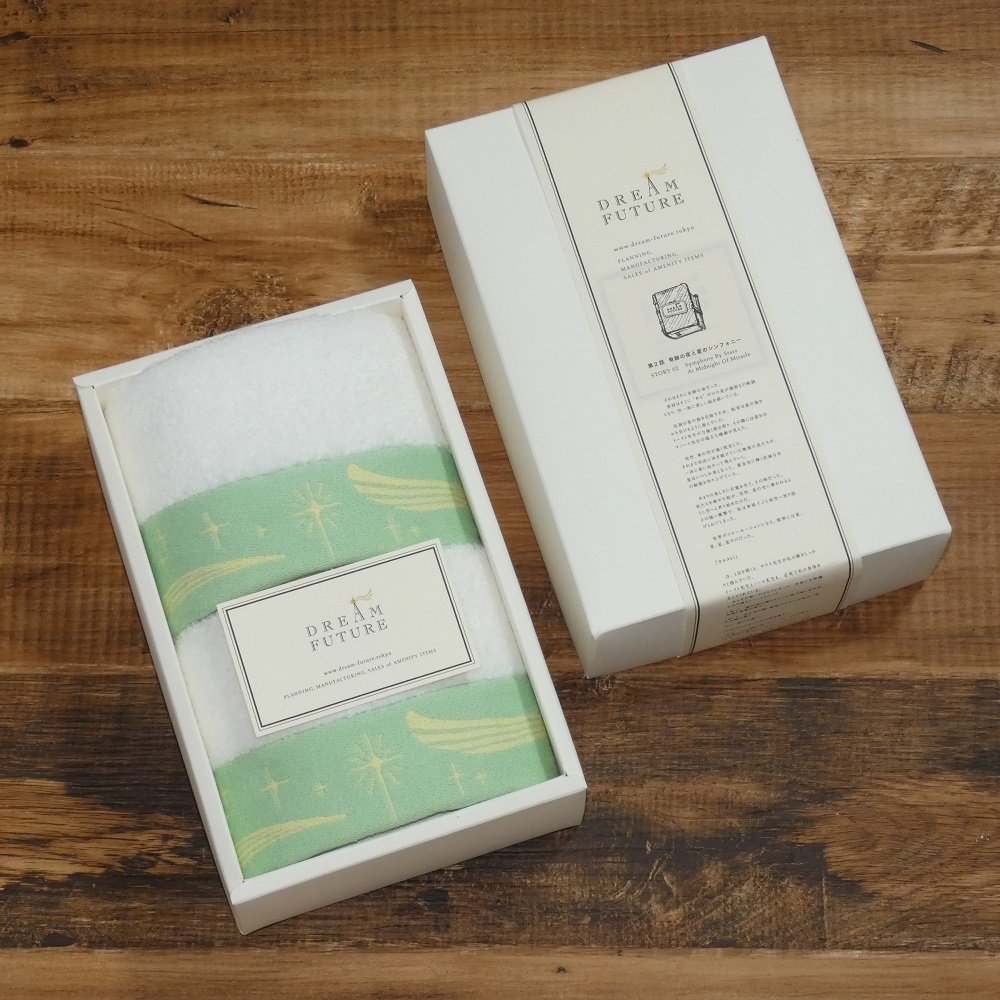 無撚糸高級ハンドタオル2枚SET GREEN / GREEN