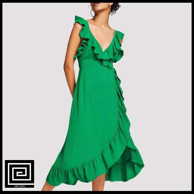 グリーンバックフリルラップドレス