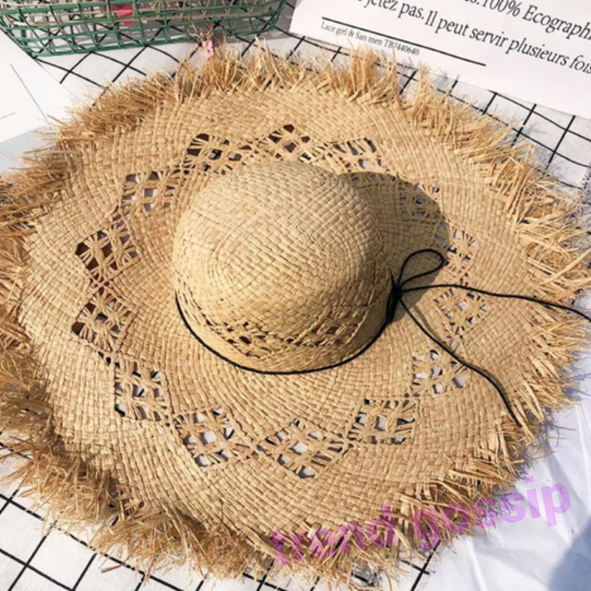 クロシェ編み風ストローハット/麦わら帽子/ラフィアハット