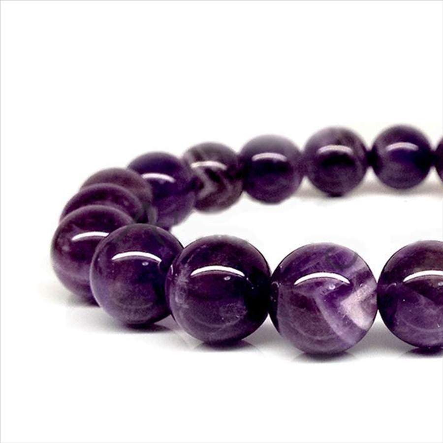 【愛と慈しみの心】天然石 アメジスト紫水晶 ブレスレット(6mm、8mm、10mm)