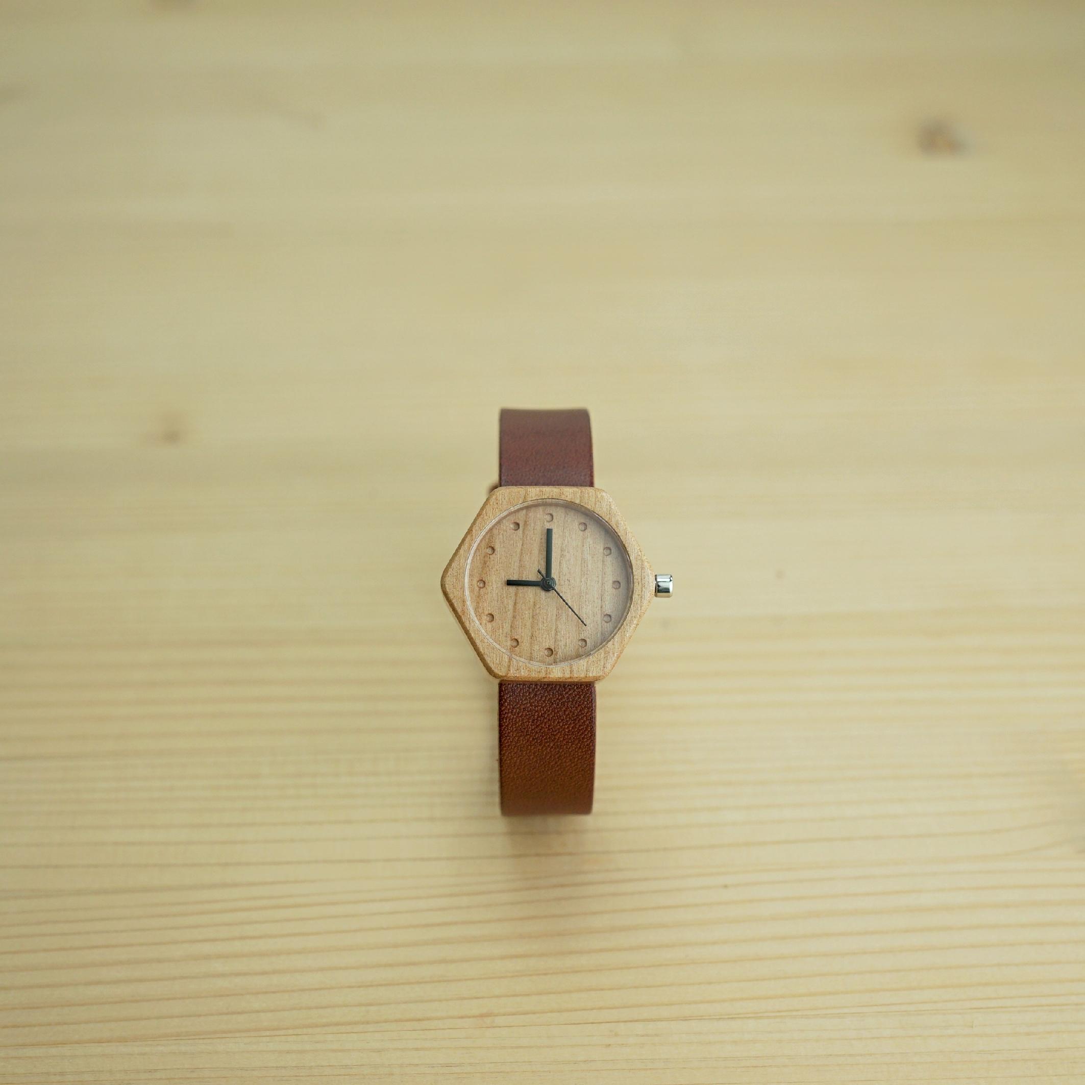 六角形 Cherry wood - Organic leather Dark Brown - S