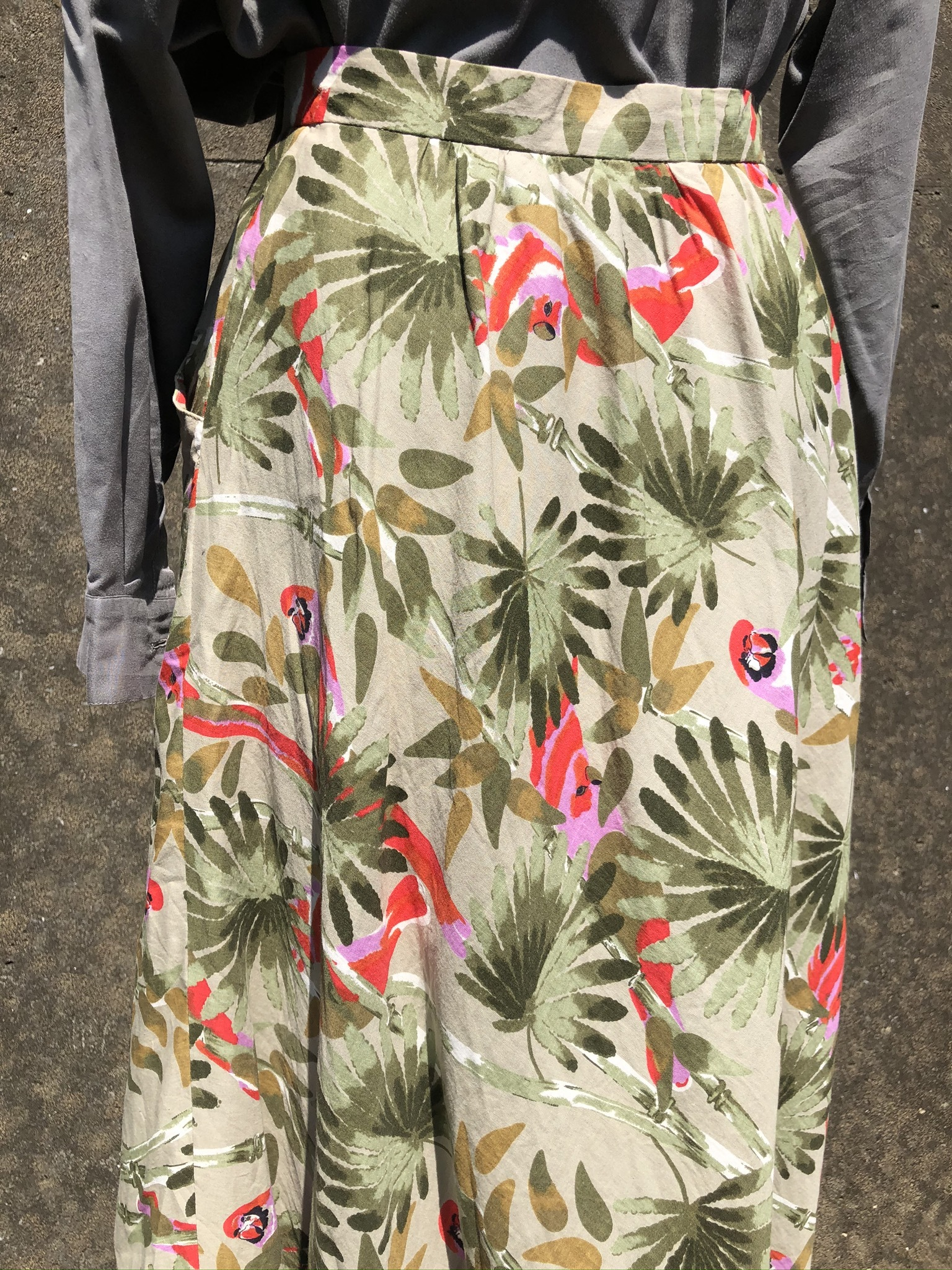 safari cotton flare skirt