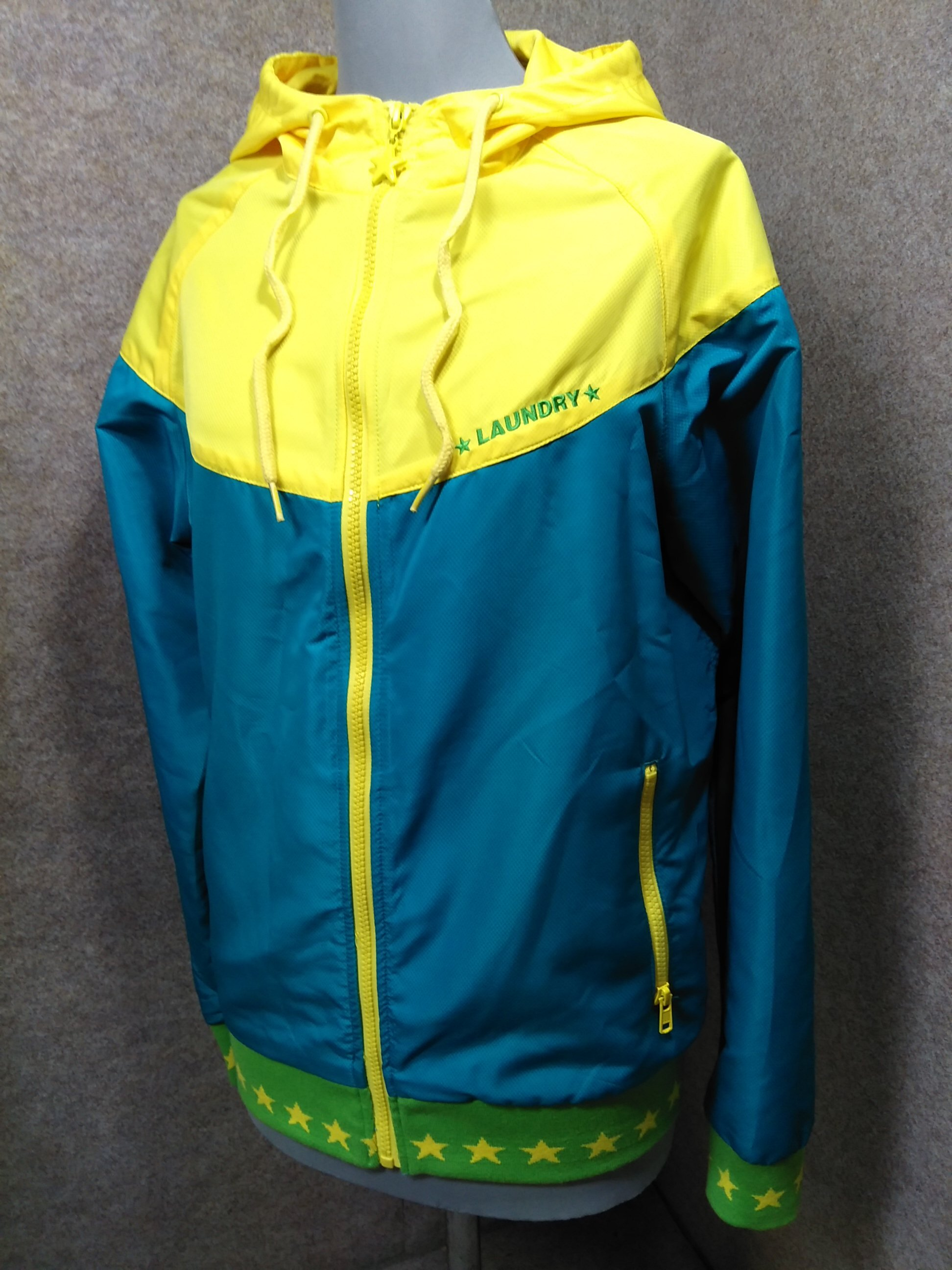 ランドリー Laundry ポリエステル パーカー S 青緑×黄 u1232a