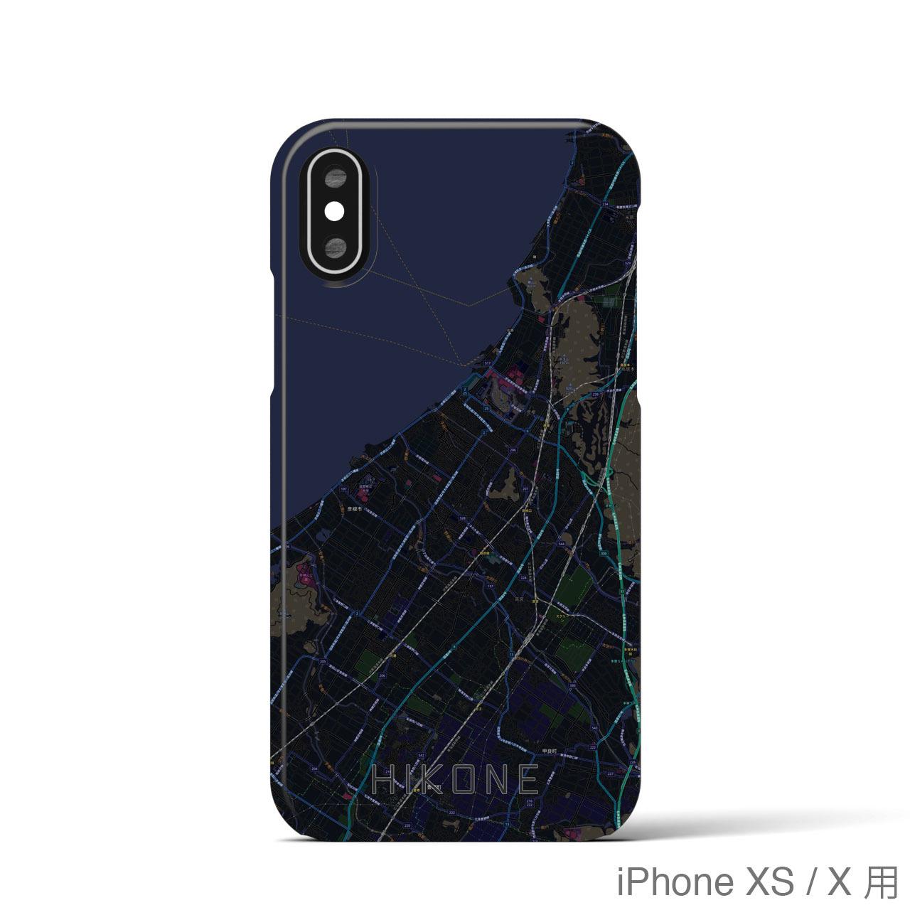 【彦根】地図柄iPhoneケース(バックカバータイプ・ブラック)