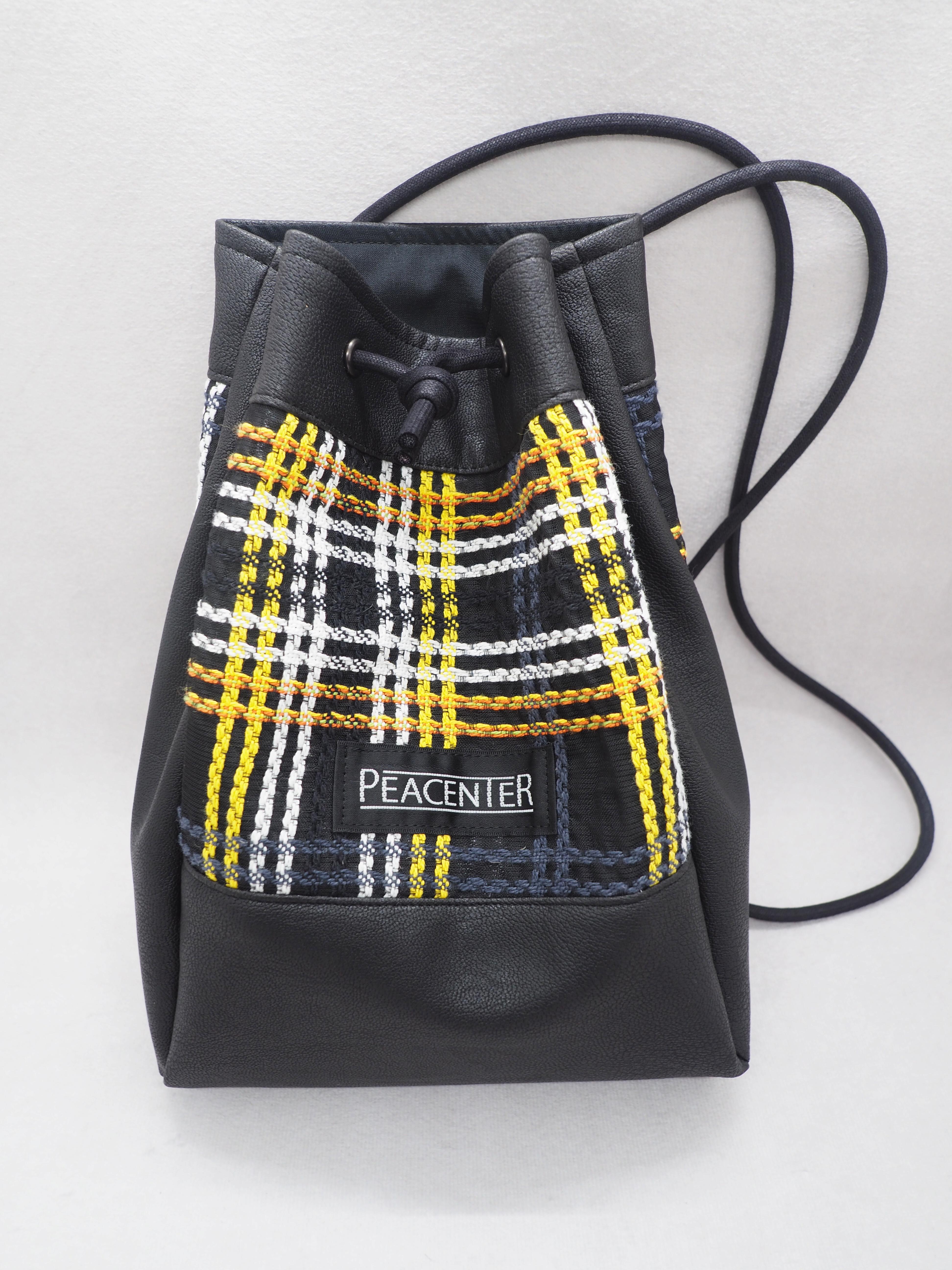 yellowチェック生地 巾着型ミニバッグ