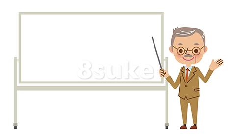 イラスト素材:ホワイトボードを使ってプレゼンする熟年のビジネスマン(ベクター・JPG)