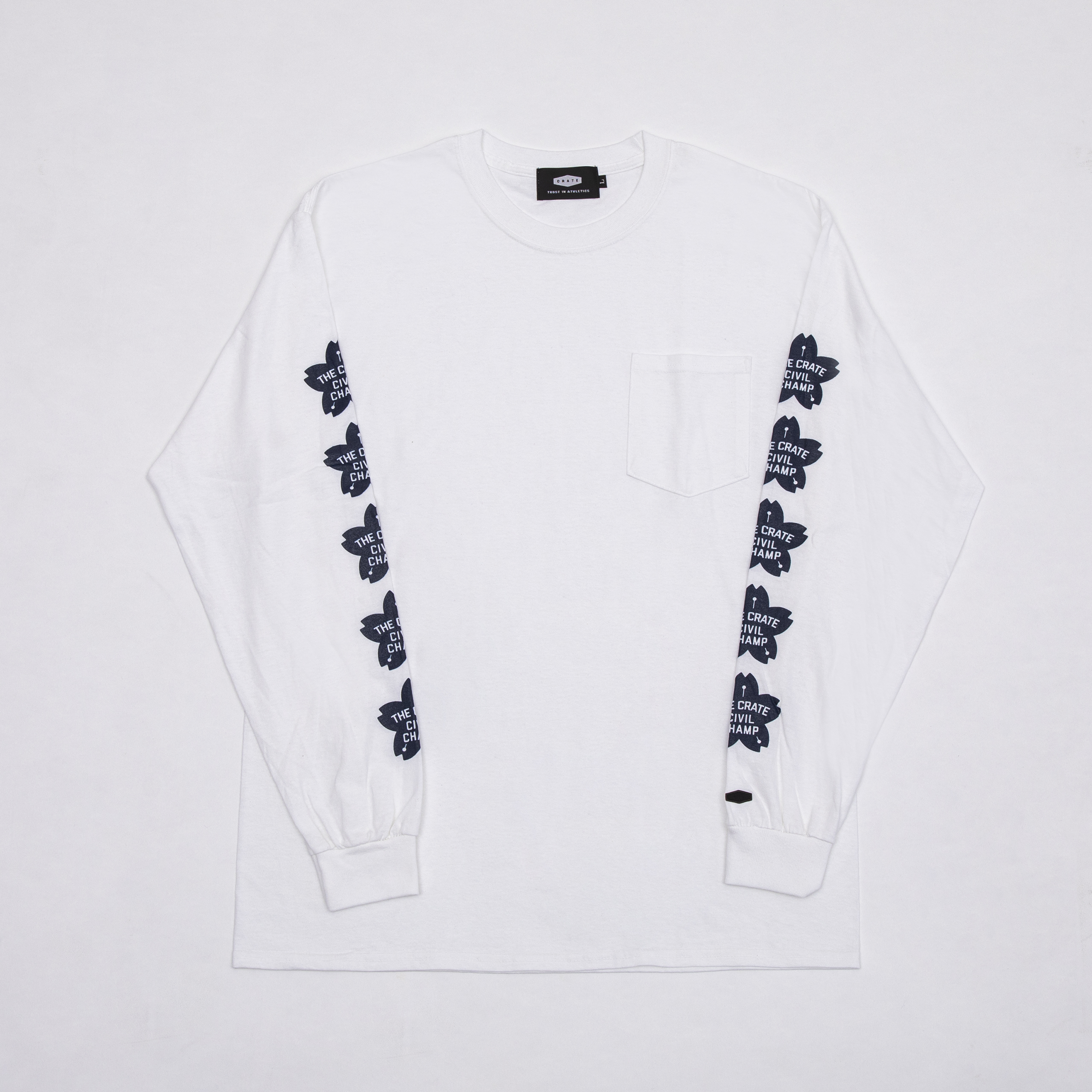 CHERRY BLOSSOMS POKET L/S T-SHIRTS WHITE