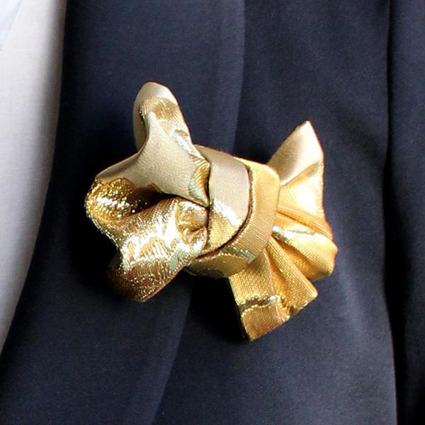 西陣織ブローチ(M)  ゴールド×ゴールド02