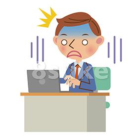 イラスト素材:ノートパソコンを見てショックを受けるビジネスマン(ベクター・JPG)