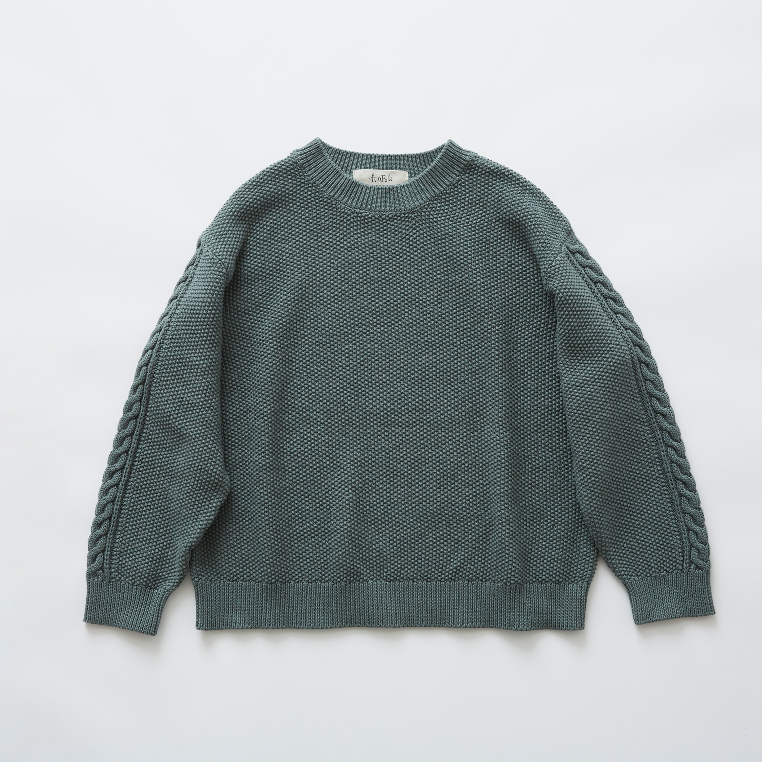 《eLfinFolk》moss stitch sweater / sage green / 110・130cm