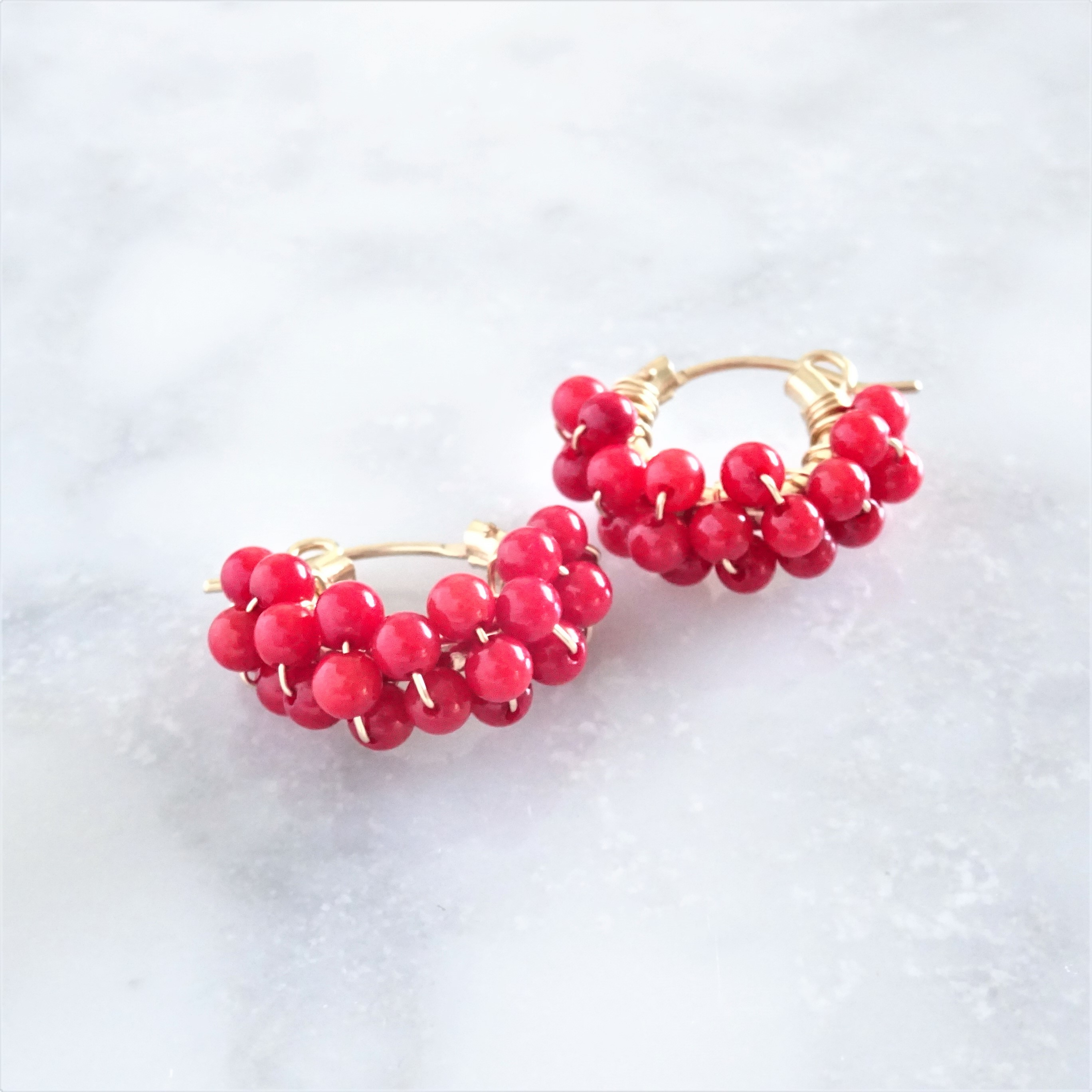 送料無料 14kgf Red Coral*wrapped pierced earring/earring