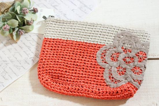 手編みのポーチ 大*オレンジ・バテンレース/sakura 型番:P-6
