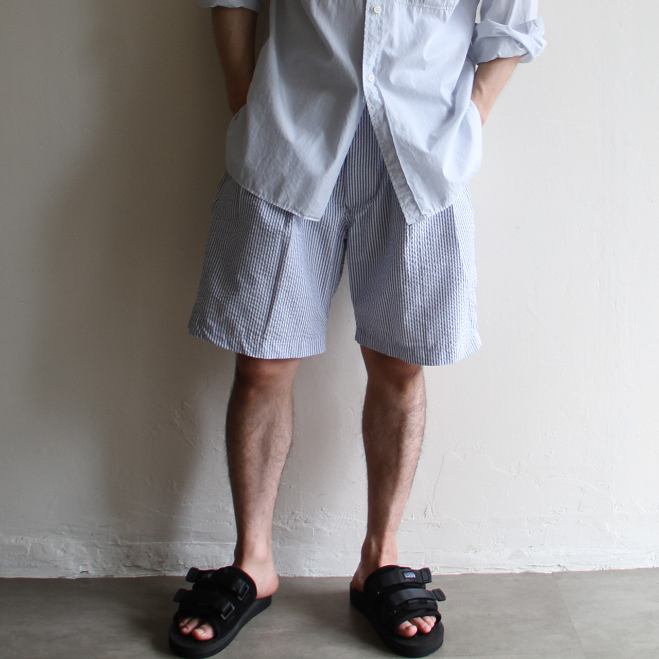 is-ness【 mens 】stripe short pants