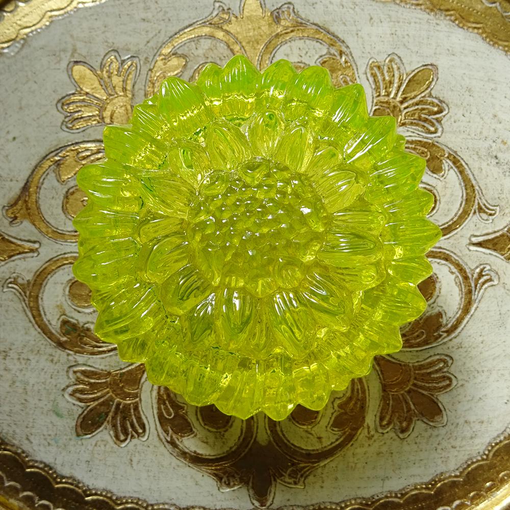 チェコスロバキア ボヘミアガラスのジュエリーポット ひまわり / イエロー