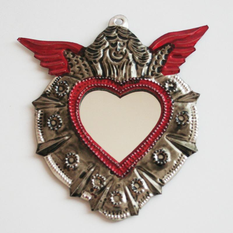 メキシコのブリキ手鏡/242a/天使/MEXICO