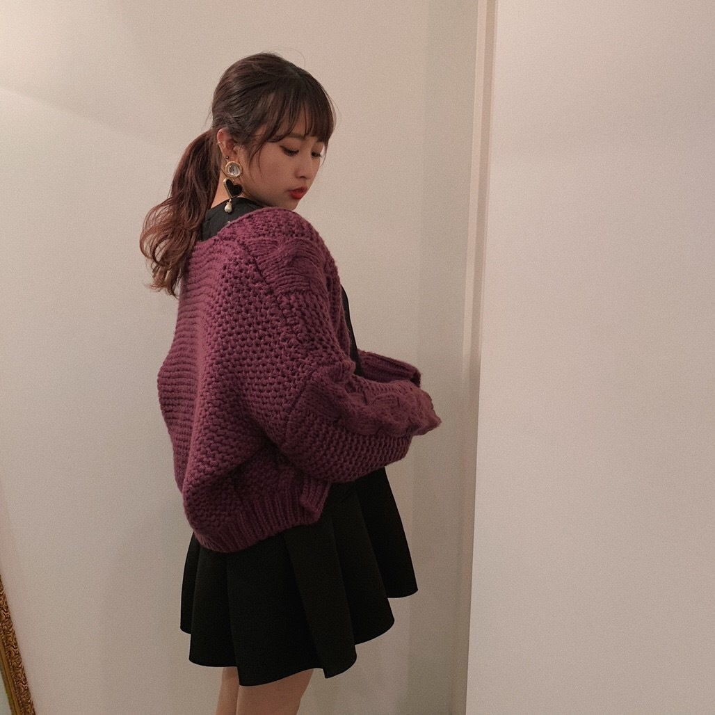 cable cardigan violet
