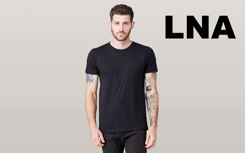 LNA/エルエヌエー ショートスリーブクルーネックシャツ/ブラック