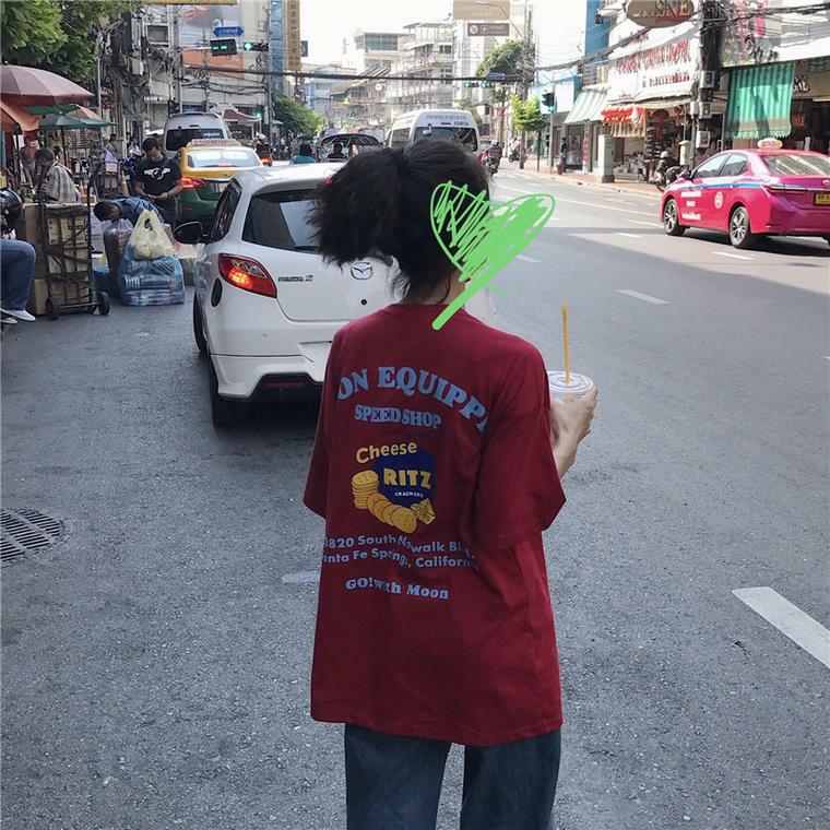 【送料無料】 カジュアルTシャツ♡ バックプリント デザイン Tシャツ ビッグシルエット ロゴ オーバーサイズ