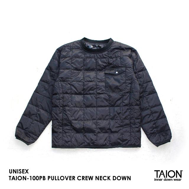 UNISEX / TAION-100PB PULLOVER CREW NECK DOWN / BLACK