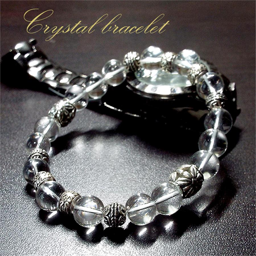 【男を輝かせる水晶パワー】天然石 水晶・クリスタルパワー ブレスレット for men(10mm)