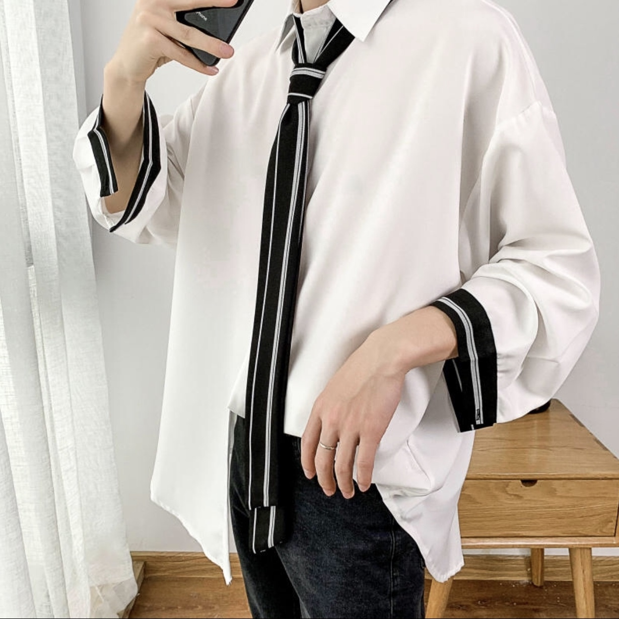カジュアルサマージャケットシャツ ネクタイ 韓国風