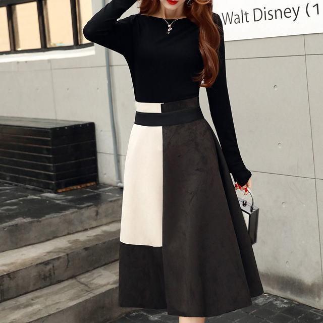 ブラック ボートネック 長袖T + スエード風カラーブロックスカート ◆ セットアップ