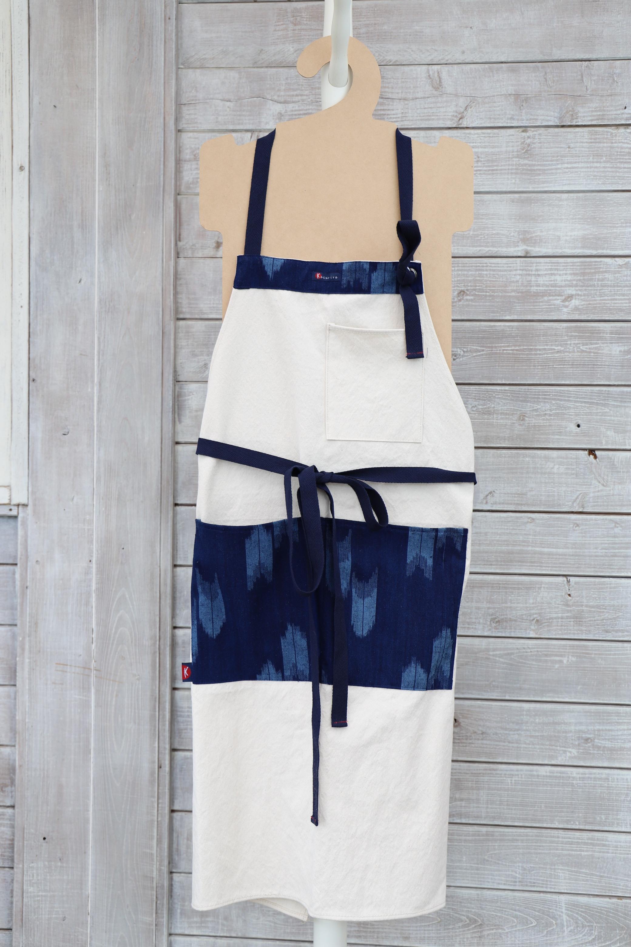 エプロン ZT01 尾道帆布×藍染絣柄