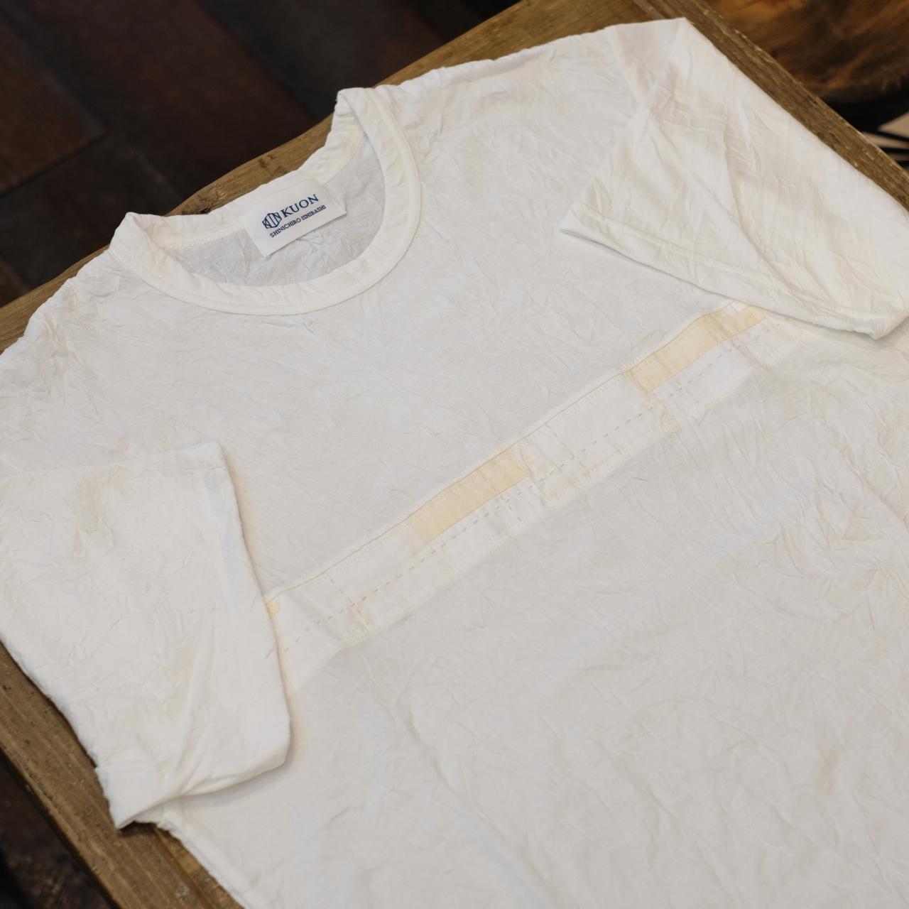 KUON(クオン) ラインアップサイクル襤褸 リンクルTシャツ ホワイト