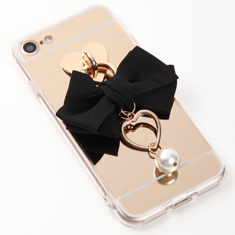 【即納★送料無料】ゴールドミラーソフトケース ブラックのリボンにハートとパールのチャーム付iPhoneケース
