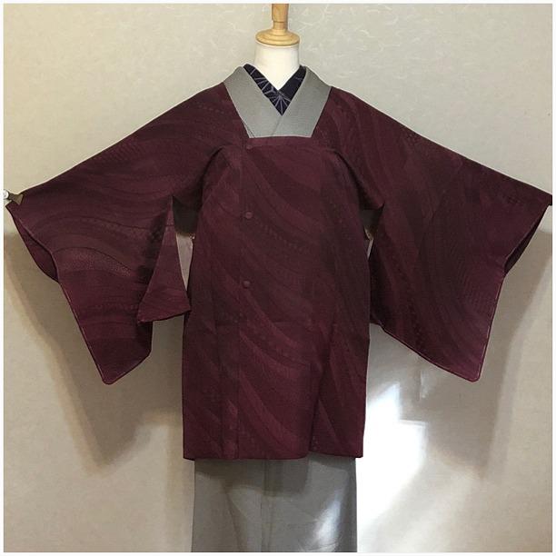★ 道行コート 赤紫 幾何学 ななめ しつけ付き ★ i1003
