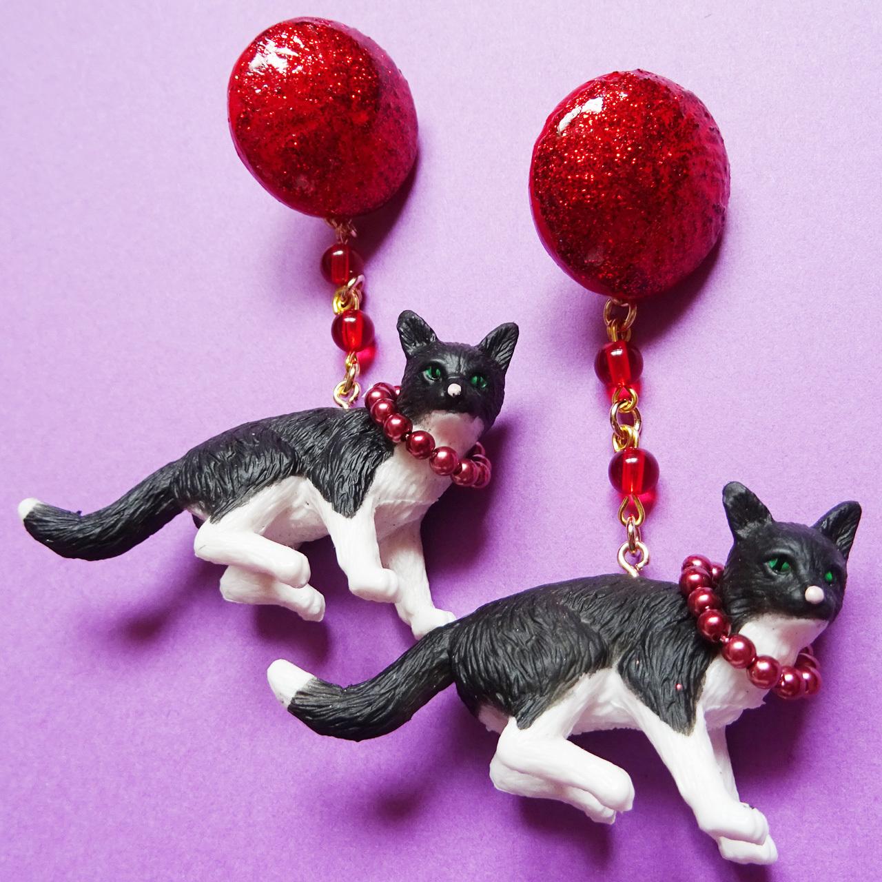 Sedmikrasky セドミックラスキー 白黒猫のピアス / イヤリング