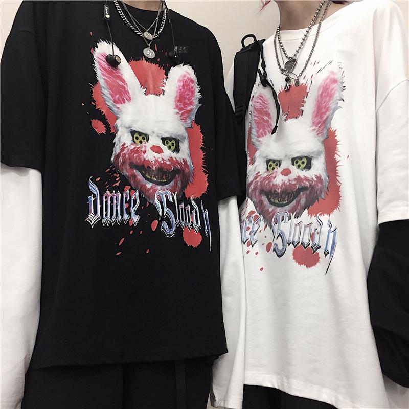 ユニセックス Tシャツ 長袖 メンズ レディース フェイクレイヤード ダーク系 血まみれウサギ プリント ロンT オーバーサイズ 大きいサイズ ストリート