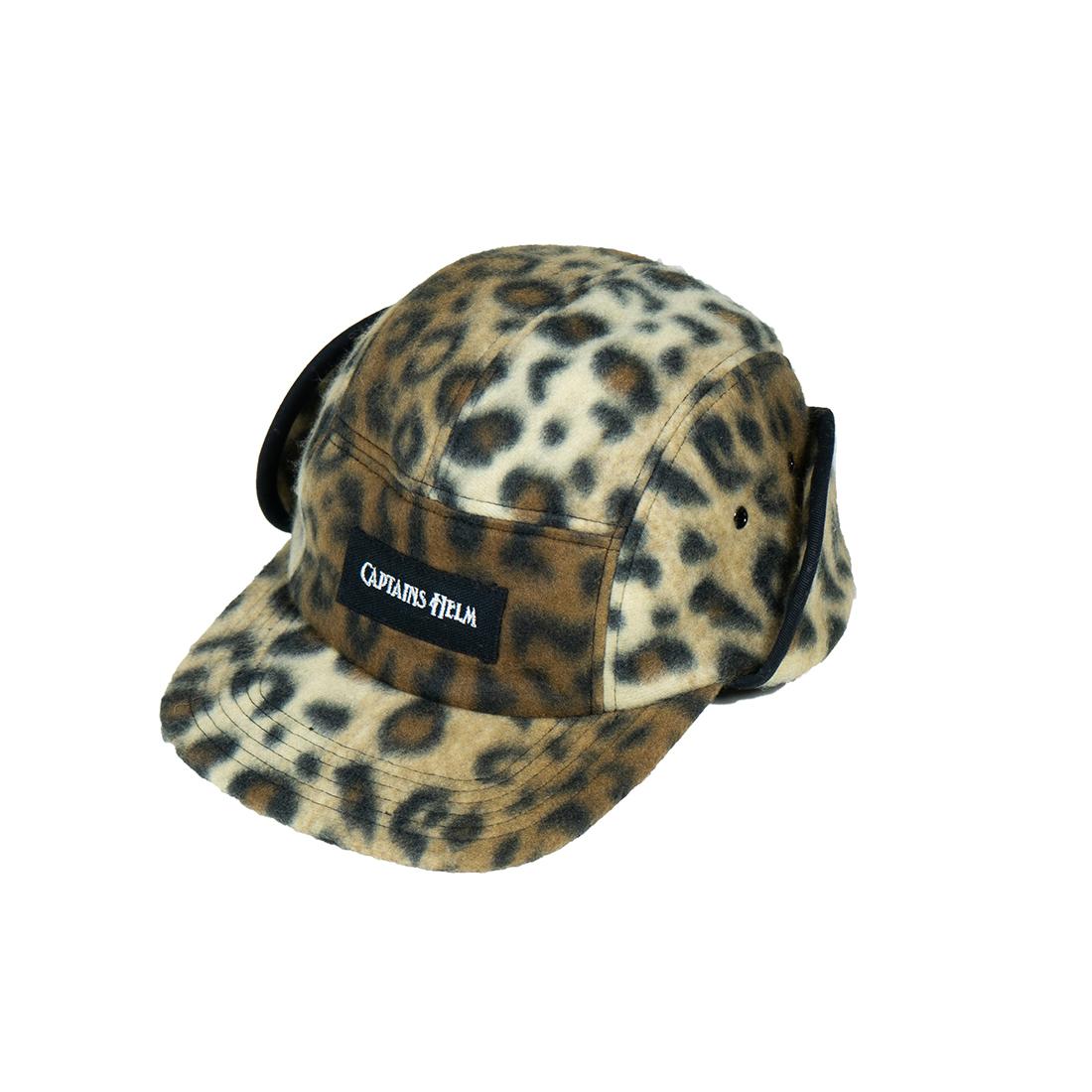 CAPTAINS HELM #Leopard Fleece Flap Cap