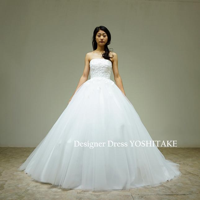 【オーダー制作】ウエディングドレス(無料パニエ) 白チュールドレス/上半身レース&ビジュー(パニエ付)結婚式挙式/教会/フォト婚※制作期間3週間から6週間
