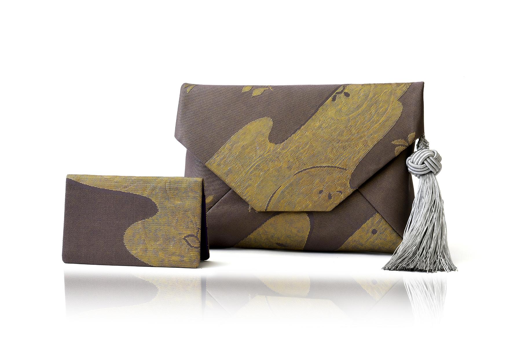 すきや袋と名刺入れセット / 古代錦袋帯/「かすみ更紗」藤鼠b / OSK-FKOD-M63-C12-4 /OCH-FKOD-M63-C12-7