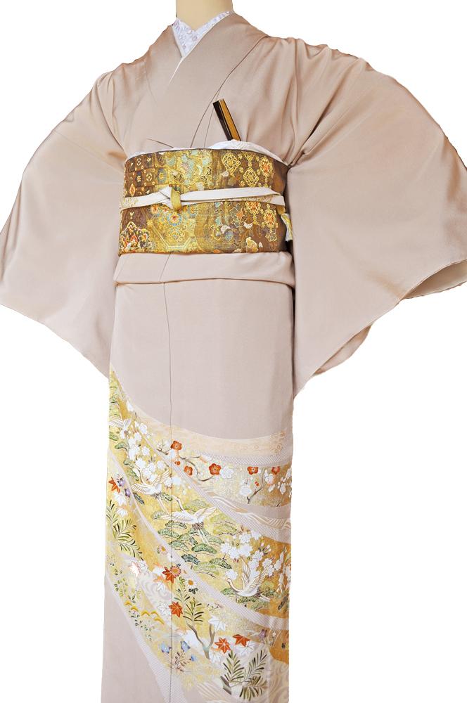 レンタル色留袖■高級加工■桃色地 流れる短冊に豪華な金彩鶴や松の柄irotome2【往復送料無料】 - 画像3
