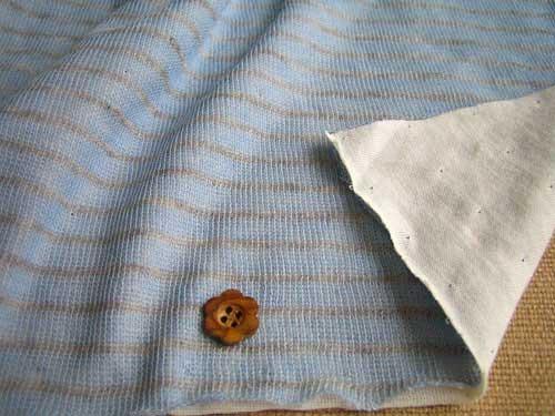 綿混接結ニット、ボーダー柄 柔らかブルー+杢グレー NTB-0140
